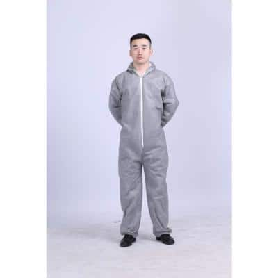 Men's X/L-Large Grey SMS Breathable Hooded Coveralls