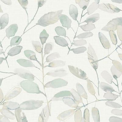 White Fable Leaf Peel & Stick Wallpaper