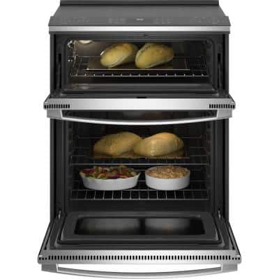 Profile 6.6 cu. ft. Slide-in Double Oven Electric Range with Self-Cleaning Convection Oven in Stainless Steel