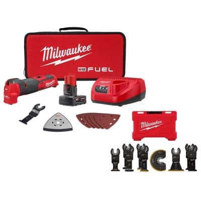 Milwaukee M12 FUEL 12-Volt Lithium-Ion Cordless Oscillating Multi-Tool Kit w/ Multi-Tool Blade Kit (9-Piece)