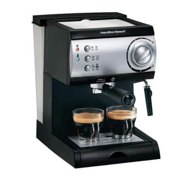 2-Cup Black Espresso Maker with 15-Bar Pump