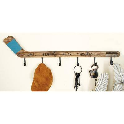 11 in. x 40 in. Brown Wood Eclectic Wall Hook