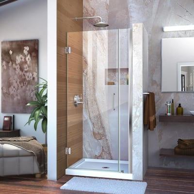 Unidoor 30 to 31 in. x 72 in. Frameless Hinged Shower Door in Chrome