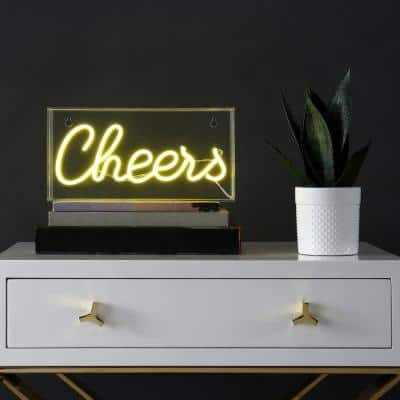 Cheers 5.9 in. Yellow Contemporary Glam Acrylic Box USB Operated LED Neon Lamp