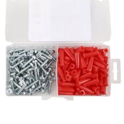 #10-12 x 1 in. Plastic Conical Anchor Kit with Hex head Sheet Metal Screw (201-Pack)