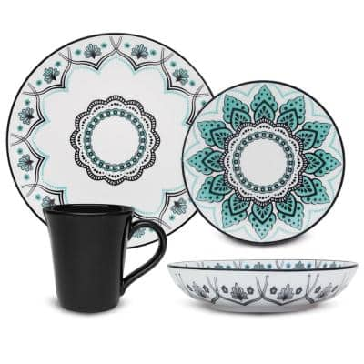 Coup Blue and Black 16-Piece Casual Blue and Black Porcelain Dinnerware Set (Service for 4)