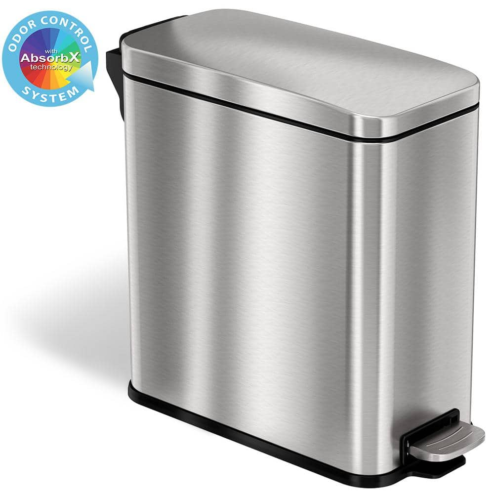 Itouchless 3 Gal Softstep Slim Bathroom Step Trash Can With Absorbx Odor Filter And Removable Inner Bucket Stainless Steel Ps03rss The Home Depot