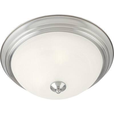 Essentials 2-Light Satin Nickel Flushmount