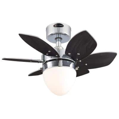 Origami 24 in. LED Chrome Ceiling Fan with Light Kit