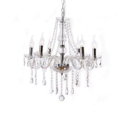 Candle Shape 6-Light Silver Crystal Chandelier Trimmed with Crystal Balls