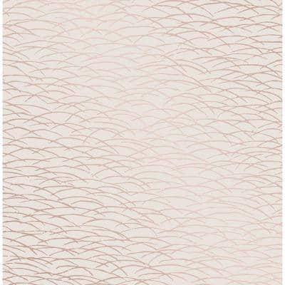 Hono Rose Gold Abstract Wave Strippable Wallpaper (Covers 56.4 sq. ft.)