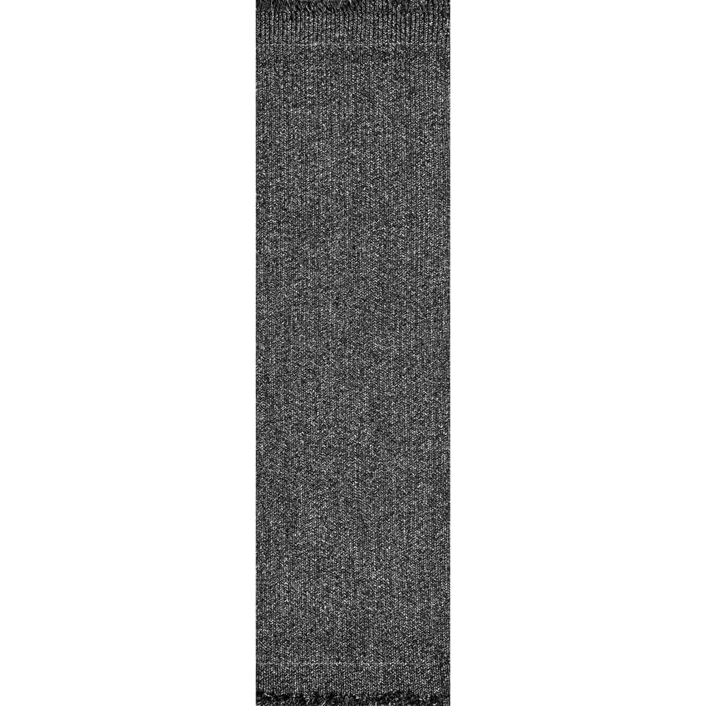 Nuloom Courtney Braided Charcoal 3 Ft X 12 Ft Indoor Outdoor Runner Hjfv11c 26012 The Home Depot