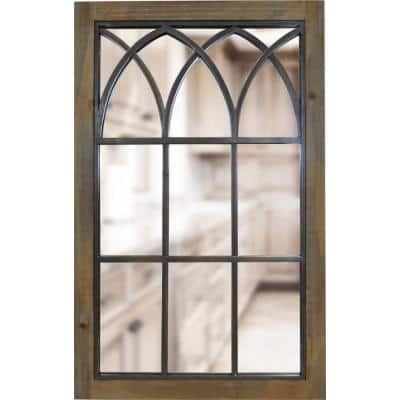 Medium Rectangle Weathered Brown Antiqued Contemporary Mirror (37.5 in. H x 24 in. W)