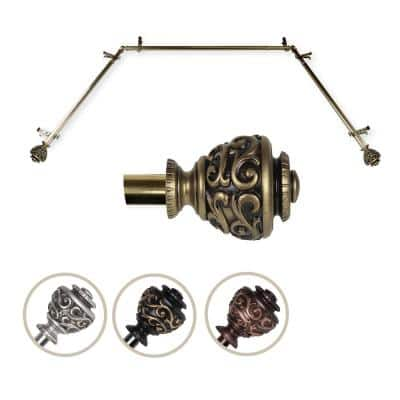 """13/16"""" Dia Adjustable Bay Window Single Curtain Rod 20 to 36"""", 38 to 72"""" in Antique Brass with Diana Finials"""