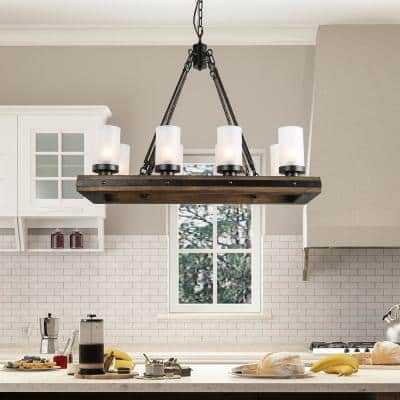 Farmhouse Kitchen Linear Wood Chandelier 8-Light Black Island Pendant Light with Gold Glitter and Frosted Glass Shades