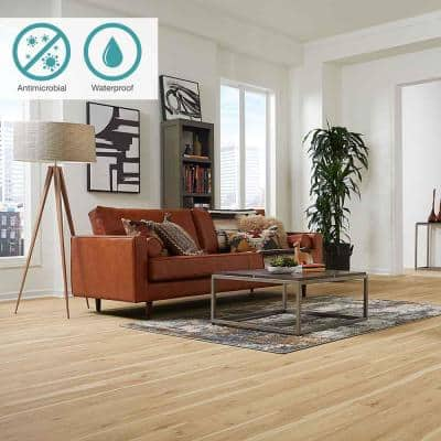 Defense+ 6.14 in. W Vintage Linen Hickory Antimicrobial Waterproof Laminate Wood Flooring (16.12 sq. ft./case)