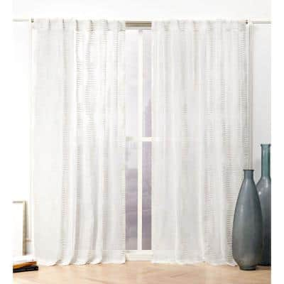 Latte Abstract Back Tab Sheer Curtain - 54 in. W x 96 in. L