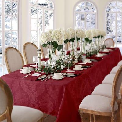 52 in. W X 70 in. L Burgundy Elrene Barcelona Damask Fabric Tablecloth