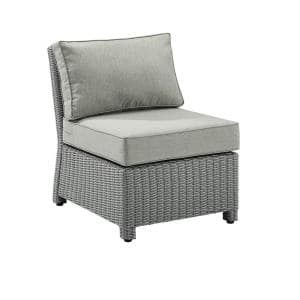 Bradenton Gray Wicker Center Outdoor Sectional Chair with Gray Cushions