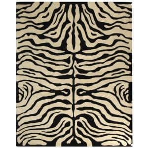 Meza Black Gray 6 Ft 7 In X 9 Ft 6 In Animal Rectangle Area Rug Rkg145270 The Home Depot
