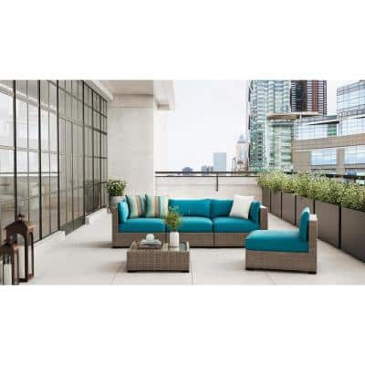 Commercial Grade 29.33x29.33x5.12 in. Left /Right Arm or Corner Outdoor Patio Sectional Chair Cushion in Sunbrella Teal