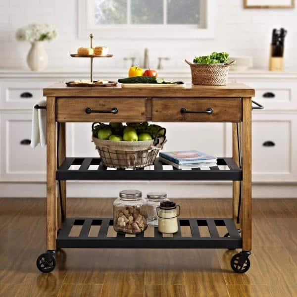 Crosley - Roots Rack Industrial Natural Kitchen Cart with Towel Rack