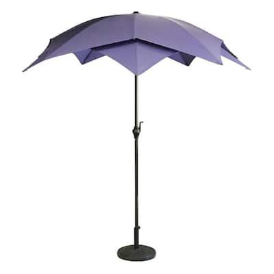 8.85 ft. Lotus Outdoor Patio Market Umbrella in Purple with Hand Crank