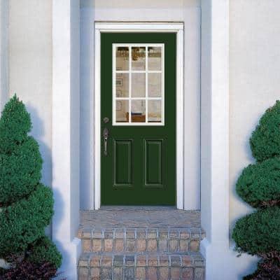 36 in. x 80 in. 9 Lite Left Hand Inswing Painted Smooth Fiberglass Prehung Front Exterior Door with No Brickmold