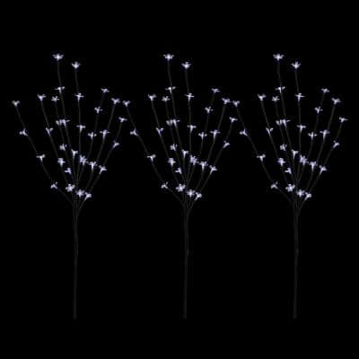 30 in. Pure White LED Lighted Cherry Blossom Branches (Set of 3)