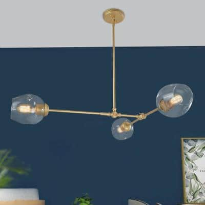 Ismo 3-Light Farmhouse Modern Antique Brass Chandelier with Clear Glass Shade
