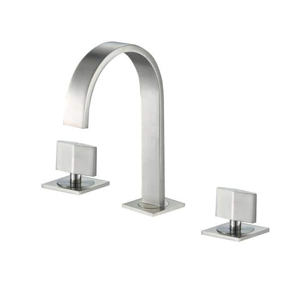 Luxier Widespread 2 Handle Contemporary Bathroom Vanity Sink Lavatory Faucet Cupc Nsf Ab 1953 Lead Free In Brushed Nickel Wsp05 Tb The Home Depot