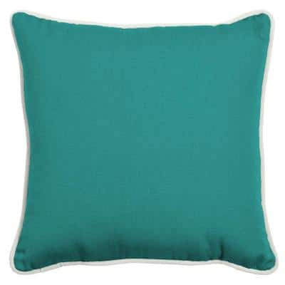 Oasis 18 in.  Surf Teal  Square  Indoor/Outdoor  Throw Pillow