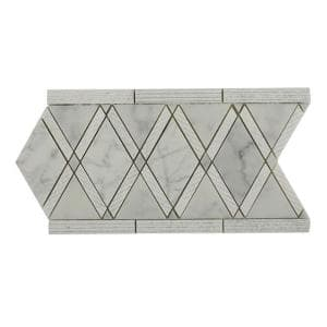 Grand Textured White Carrera Border 6 in. x 12 in. x 10 mm Polished Marble Floor and Wall Tile