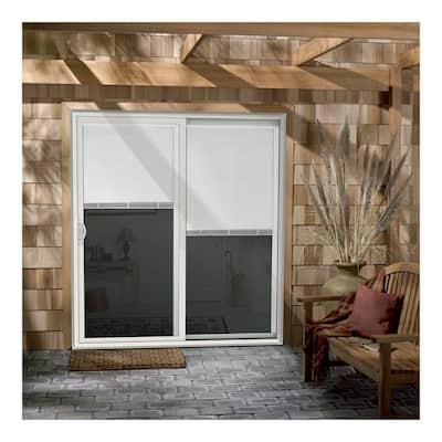 72 in. x 80 in. V-2500 Desert Sand Vinyl Left-Hand Full Lite Sliding Patio Door w/Internal Blinds