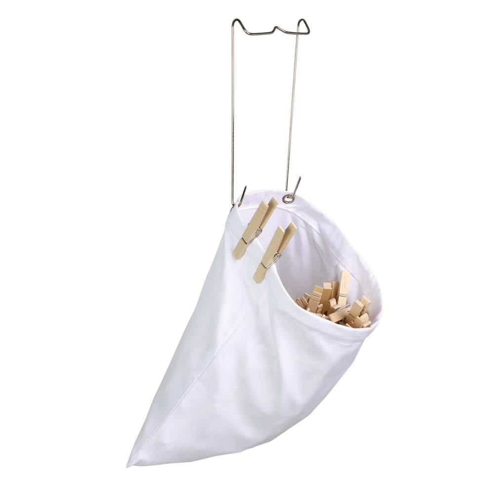 Honey Can Do DRY-01313 White Cotton Clothespin Bag with Hanging Steel Hook