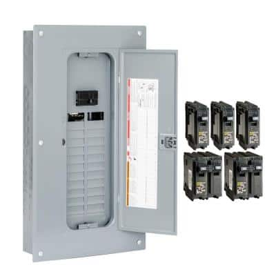 Homeline 100 Amp 24-Space 48-Circuit Indoor Main Breaker Plug-On Neutral Load Center with Cover - Value Pack
