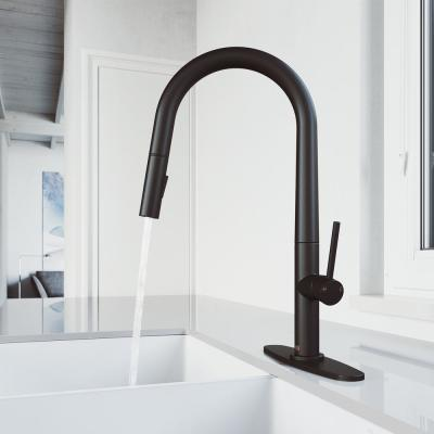 Greenwich Single-Handle Pull-Down Sprayer Kitchen Faucet with Deck Plate in Matte Black