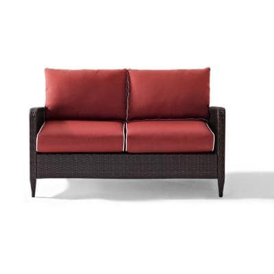Kiawah Wicker Outdoor Loveseat with Sangria Cushions