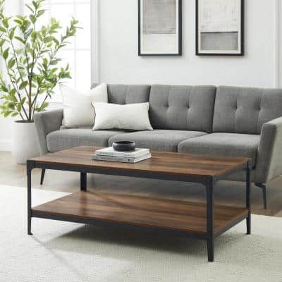 Angle 48 in. Rustic Oak/Black Large Rectangle MDF Coffee Table with Shelf