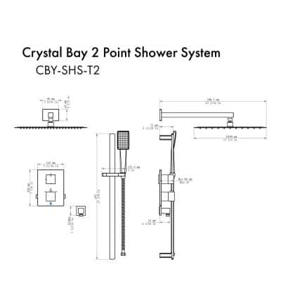 ZLINE Crystal Bay 2-Spray Patterns with 2 GPM 15.8 in. Wall Mount Rainfall Dual Shower Heads in Brushed Nickel