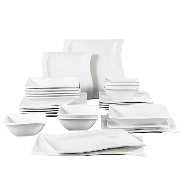 Malacasa Flora 26 Piece White Porcelain Dinnerware Set Plates And Bowls Set Service For 6 Flora 26 The Home Depot