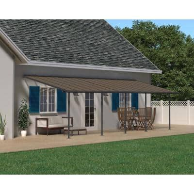 Sierra 10 ft. x 30 ft. Gray/Bronze Patio Cover Awning