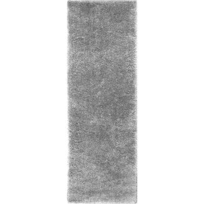 Gynel Solid Shag Silver 3 ft. x 8 ft. Runner