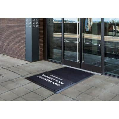 Sanitizer Large Black 36 in. x 60 in. Rubber Sanitizer DoorMats