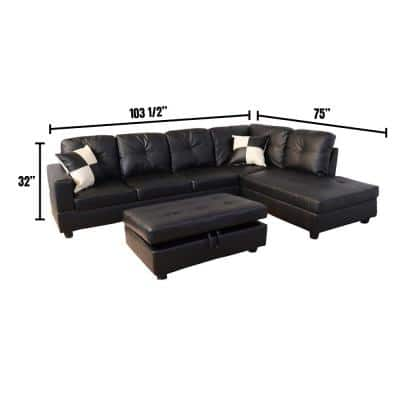 Black Faux Leather 3-Seater Right-Facing Chaise Sectional Sofa with Storage Ottoman