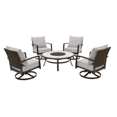 Whitfield 5-Piece Dark Brown Metal Outdoor Patio Round Fire Pit Seating Set with CushionGuard Stone Gray Cushions