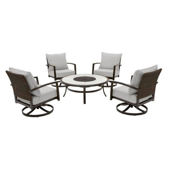 Hampton Bay Whitfield 5 Piece Dark Brown Metal Outdoor Patio Round Fire Pit Seating Set With Cushionguard Stone Gray Cushions H152 01424900 The Home Depot