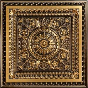 La Scala Antique Gold 2 ft. x 2 ft. PVC Glue-up or Lay-in Faux Tin Ceiling Tile (100 sq. ft./case)