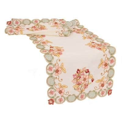 Primrose 15 in. x 90 in. Multi Embroidered Cutwork Table Runner
