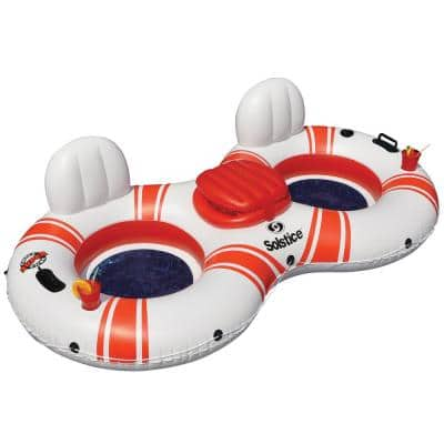 89 in. White/Red Super Chill Tube Double Float
